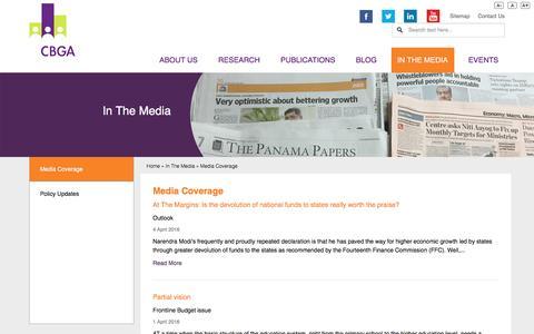 Screenshot of Press Page cbgaindia.org - In The Media - Media Coverage | CBGA India - captured Oct. 30, 2016