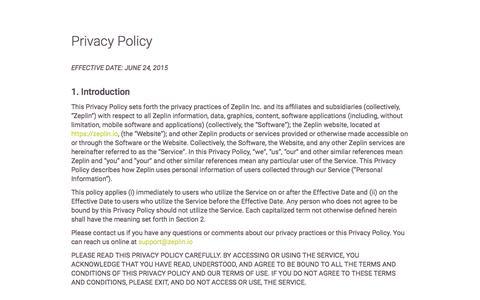 Screenshot of Privacy Page zeplin.io - Privacy Policy - Zeplin - captured Nov. 17, 2015