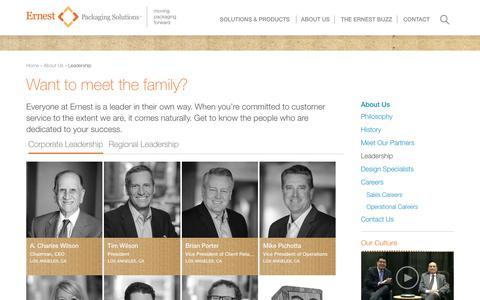 Screenshot of Team Page ernestpackaging.com - Leadership   Ernest Packaging Solutions - captured Feb. 16, 2018