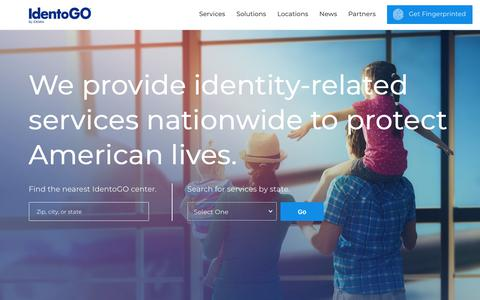 Screenshot of Home Page identogo.com - We provide identity-related services to protect American lives. | Identogo - captured Dec. 19, 2018