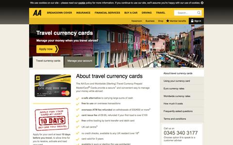 Screenshot of theaa.com - Travel currency cards | AA - captured March 20, 2016