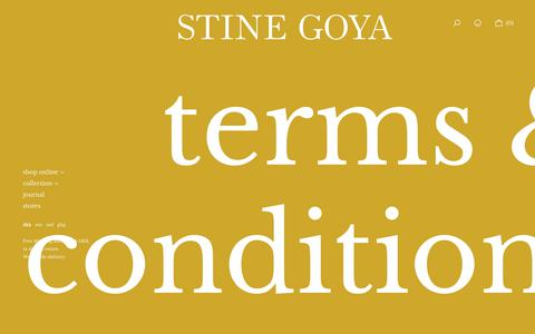 Screenshot of Terms Page stinegoya.com - Tems & Conditions about shopping online – Stine Goya - captured Oct. 20, 2018