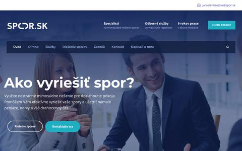 Screenshot of Home Page spor.sk - Alternatívne mimosúdne riešenie sporov pre dosiahnutie pokoja - Spor.sk - captured Oct. 19, 2018
