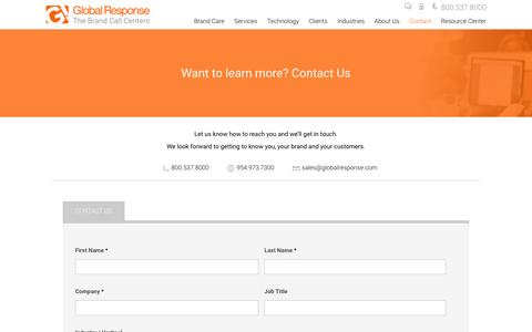 Screenshot of Contact Page globalresponse.com - Contact us - Locations, Email, Phone Number - GlobalResponse.com - Global Response - captured July 14, 2016