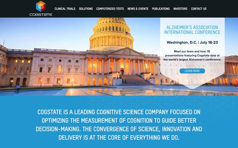 Screenshot of Home Page cogstate.com - Cogstate - Leaders in optimizing the measure of cognition - captured July 3, 2015
