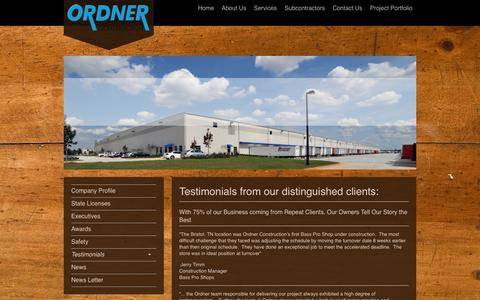 Screenshot of Testimonials Page ordner.com - Ordner Construction Company - Hear from our Clients - captured Oct. 26, 2014