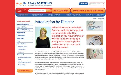 Screenshot of About Page teamfostering.co.uk - Introduction by Director - Team Fostering - captured Sept. 30, 2014