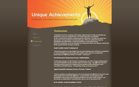 Screenshot of Testimonials Page uniqueachievements.co.uk - Unique Achievements - Testimonials - captured Oct. 23, 2018
