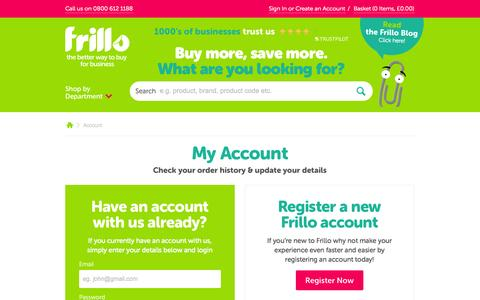 Screenshot of Login Page frillo.co.uk - Your Frillo Account - captured Sept. 18, 2014