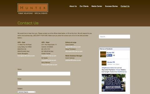 Screenshot of Contact Page hunter-pr.com - Contact Us | Hunter PRHunter Public Relations - captured Oct. 3, 2014