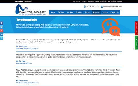 Screenshot of Testimonials Page mayurwebtech.com - Client Testimonials, Web Designing Company, Shopping Cart Development Company, E-commerce Development Company, Web Development Company India - captured Oct. 30, 2014