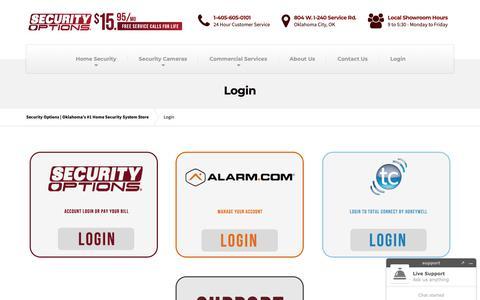 Screenshot of Login Page securityoptions.com - Login - Security Options | Oklahoma's #1 Home Security System Store - captured Oct. 21, 2018
