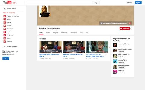 Screenshot of YouTube Page youtube.com - Nicole Dahlkemper  - YouTube - captured Oct. 27, 2014