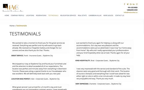 Screenshot of Testimonials Page macsuites.ca - What Our Clients Say About Us - MAC Furnished Residences Inc. - captured Oct. 1, 2018