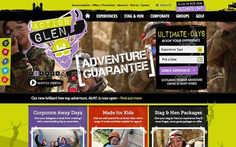 Screenshot of Home Page actionglen.com - Home - Action Glen - Scotland's Premier Adventure Centre - captured Sept. 30, 2014