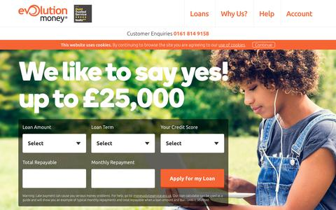 Screenshot of Home Page evolutionmoney.co.uk - Secured Online Loans For All Purposes | Evolution Money - captured July 22, 2018