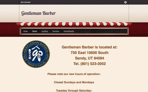 Screenshot of Hours Page gentlemanbarber.com - Hours - Gentleman Barber - captured Nov. 4, 2016