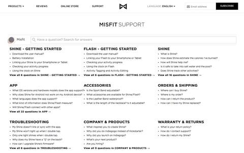 Screenshot of Support Page misfit.com - Misfit - captured Oct. 27, 2014