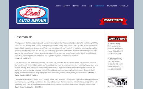 Screenshot of Testimonials Page lensautorepairinc.com - Testimonials - Len's Auto Repair | St. Louis County | St. Charles County - captured Aug. 4, 2017