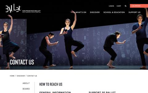 Screenshot of Contact Page sfballet.org - CONTACT US – San Francisco Ballet - captured Oct. 13, 2019