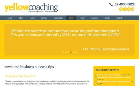 Screenshot of Press Page yellowcoaching.com.au - News   Yellow Coaching - captured Feb. 13, 2016