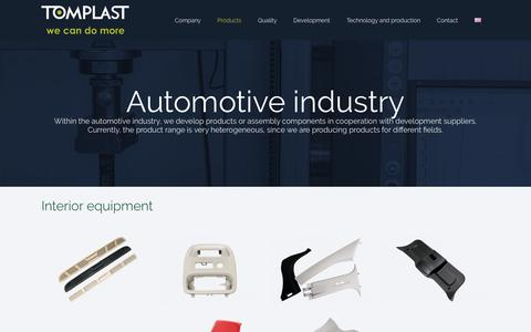 Screenshot of Products Page tomplast.si - Automotive industry   Tomplast d.o.o. - We can do more - captured July 13, 2018