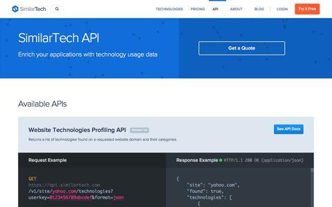 Screenshot of similartech.com - SimilarTech API - captured May 3, 2017