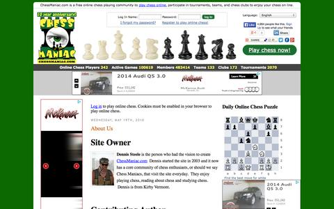 Screenshot of About Page chessmaniac.com - About Us « ChessManiac - captured Sept. 23, 2014