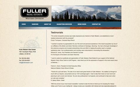 Screenshot of Testimonials Page fullerwestern.com - Testimonials  | bfuller1 - captured Oct. 6, 2014