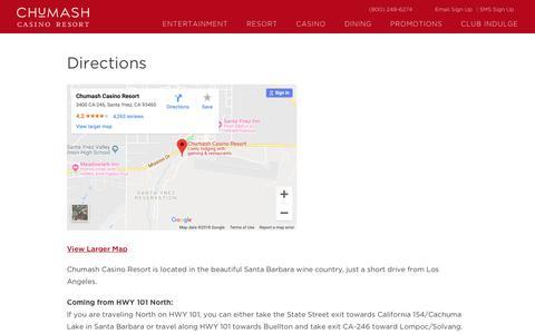 Screenshot of Maps & Directions Page chumashcasino.com - Address and Driving Directions to Chumash Casino Resort, Santa Ynez - captured Sept. 28, 2018