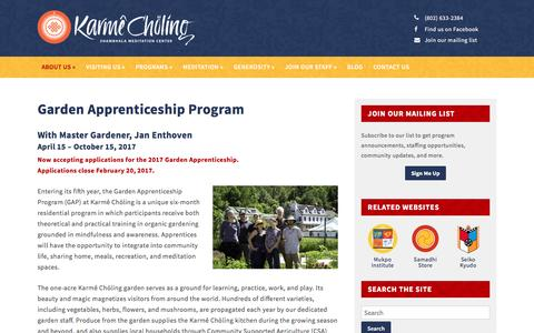 Screenshot of karmecholing.org - Garden Apprenticeship Program   Karmê Chöling - captured Jan. 5, 2017