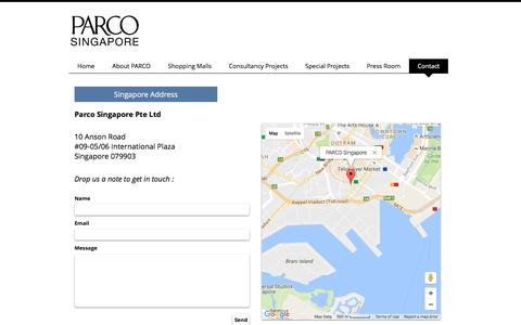 Screenshot of Contact Page parco.com.sg - Contact Us - captured Oct. 21, 2016