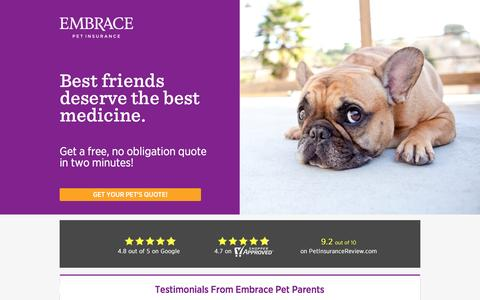 Screenshot of Landing Page embracepetinsurance.com - Embrace Pet Insurance | Experience Better Pet Insurance with EMBRACE - captured Oct. 23, 2016