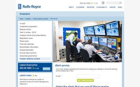 Screenshot of Signup Page rolls-royce.com - Alert service – Rolls-Royce - captured Nov. 21, 2015