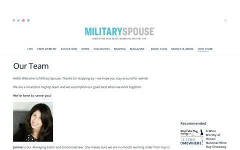 Screenshot of Team Page militaryspouse.com - Our Team | Military Spouse - captured May 25, 2019