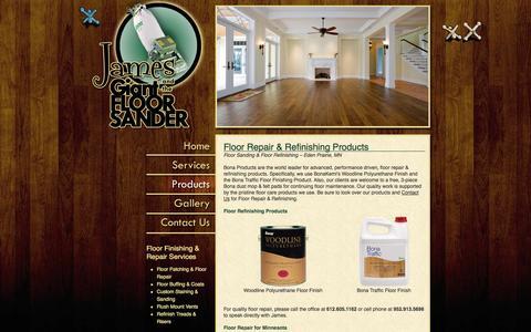 Screenshot of Products Page jamesandthegiantfloorsander.com - Floor Repair Eden Prairie, Minneapolis, Wayzata, Minnetonka MN - captured Sept. 30, 2014