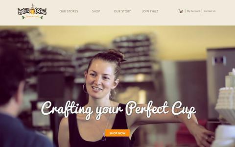 Screenshot of Home Page philzcoffee.com - Philz Coffee - captured Feb. 3, 2016