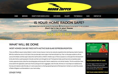 Screenshot of Services Page radonzapper.com - Sub Slab Depressurization System for Radon Mitigation in NY - Services   Radon Zapper - captured June 18, 2017