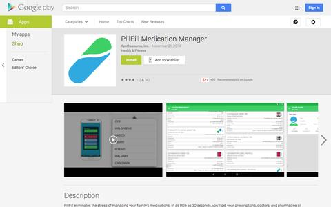 Screenshot of Android App Page google.com - PillFill Medication Manager - Android Apps on Google Play - captured Dec. 17, 2014