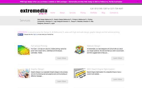 Screenshot of Services Page extremediagroup.net - Brandon FL Printers | Melbourne FL Web Design | Printing Services Brandon | Extremedia Group - captured Oct. 3, 2014
