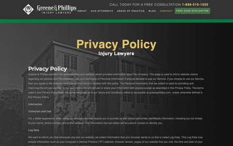 Screenshot of Privacy Page greenephillips.com - Privacy Policy - Greene & Phillips - Injury Lawyers - captured Sept. 30, 2018