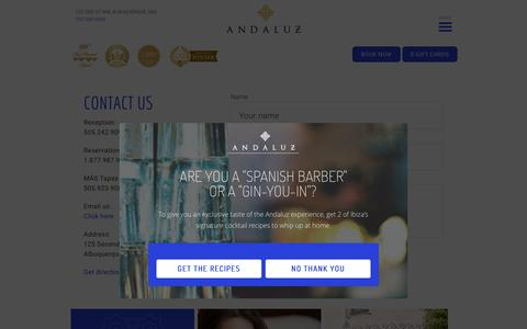 Screenshot of Contact Page hotelandaluz.com - Contact   Hotel Andaluz - captured May 23, 2017