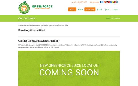 Screenshot of Locations Page greenforcejuice.com - Greenforce Juice | Our Locations - captured Dec. 6, 2015