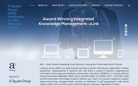 Screenshot of Home Page a2-g.com - A Square Group (ASG) Healthcare IT, IAM, – Welcome to ASG - - captured Jan. 28, 2018