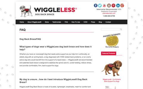 Screenshot of FAQ Page wiggleless.com - Dog Back Brace/FAQ - captured Dec. 3, 2016