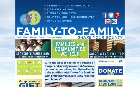 Screenshot of Home Page family-to-family.org - Family-to-Family - Share Your BountyFamily-to-Family - captured June 19, 2016