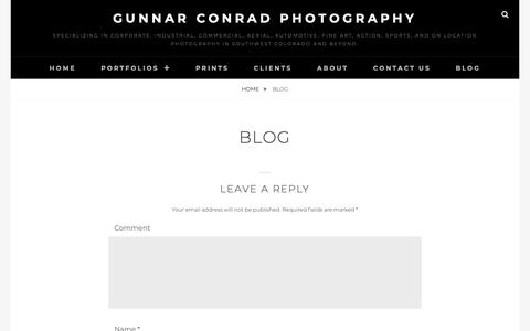 Screenshot of Blog gunnarconrad.com - Blog | Gunnar Conrad Photography | Durango, CO Photographer | Gunnar Conrad Photography - captured Sept. 30, 2018