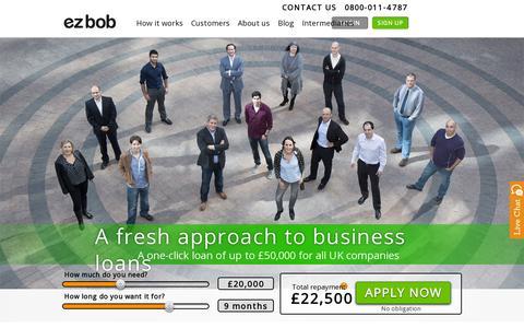 Screenshot of Home Page ezbob.com - Business funding uk & Financing for UK businesses - captured July 12, 2014