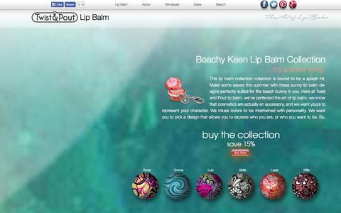 Screenshot of Home Page twistandpout.com - Lip Balm - Twist & Pout - Key Chain Lip Balm Balls - captured Oct. 7, 2014