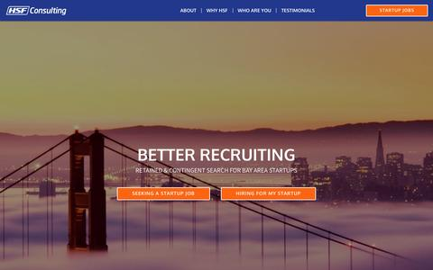 Screenshot of Home Page hsf.io - HSF Consulting |Recruiting for San Francisco Bay Tech Startups - captured Oct. 14, 2016